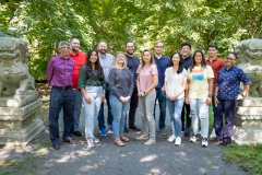 Bocarsly Lab 2021 group photo behind the Frick chemistry building.