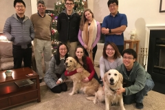 Bocarsly Lab 2017 holiday party at Andy's house (including two furry lab mascots).